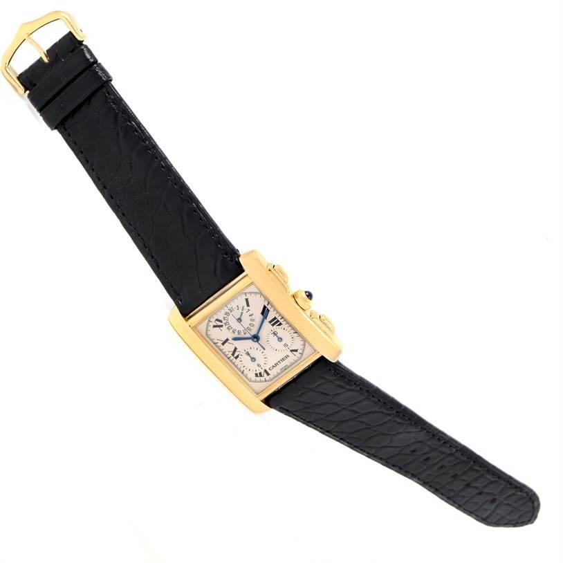 12177 Cartier Tank Francaise Chronoflex 18K Yellow Gold Watch W5000556 SwissWatchExpo