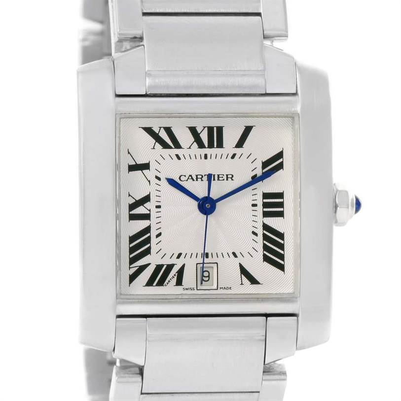 12194 Cartier Tank Francaise Automatic Silver Dial Large Watch W51002Q3 SwissWatchExpo