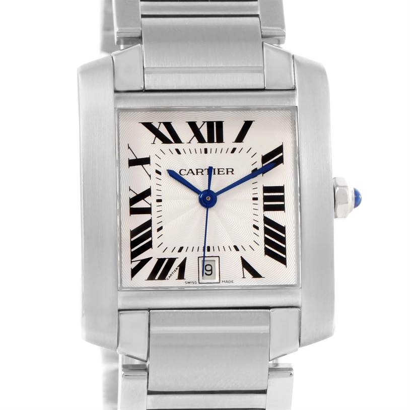 12102 Cartier Tank Francaise Automatic Silver Dial Large Watch W51002Q3 SwissWatchExpo
