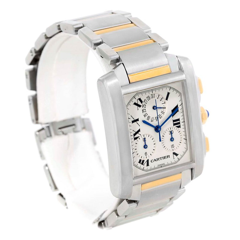 Cartier Tank Francaise Mens Two Tone Chrongraph Watch W51004Q4 SwissWatchExpo
