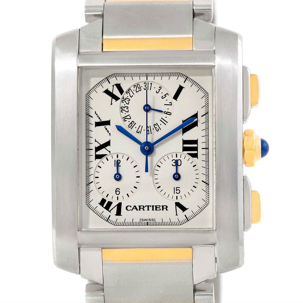 11835 Cartier Tank Francaise Mens Two Tone Chrongraph Watch W51004Q4 SwissWatchExpo