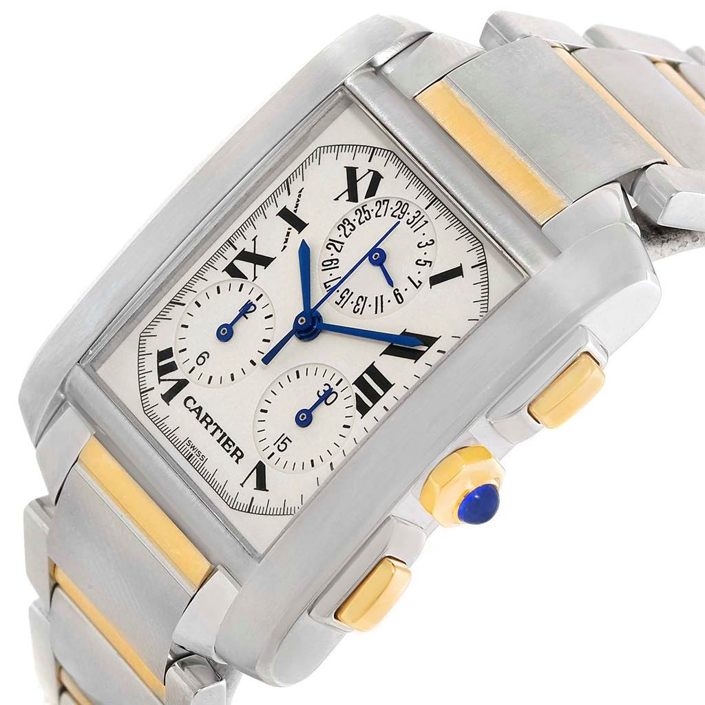 11834S Cartier Tank Francaise Steel 18K Yellow Gold Chrongraph Watch W51004Q4 SwissWatchExpo