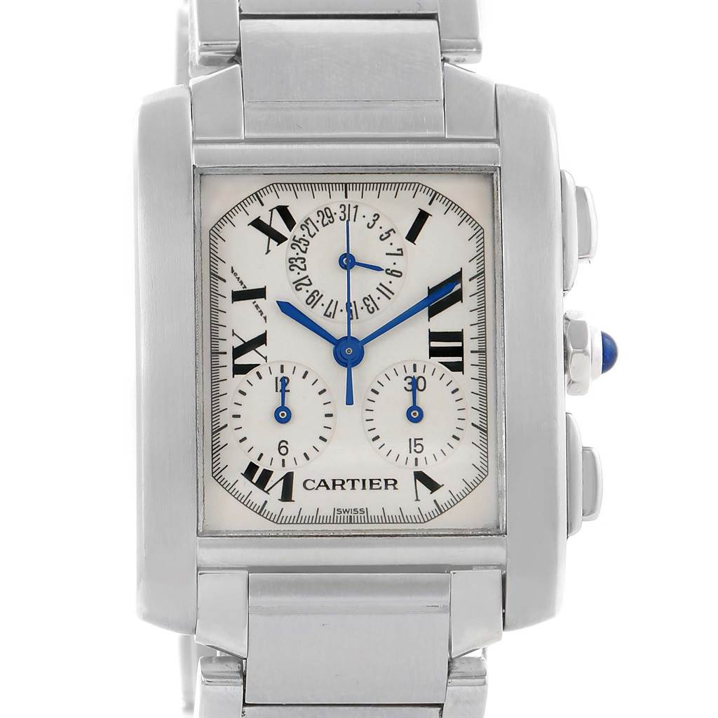 12709S Cartier Tank Francaise Stainless Steel Chronoflex Watch W51001Q3 SwissWatchExpo