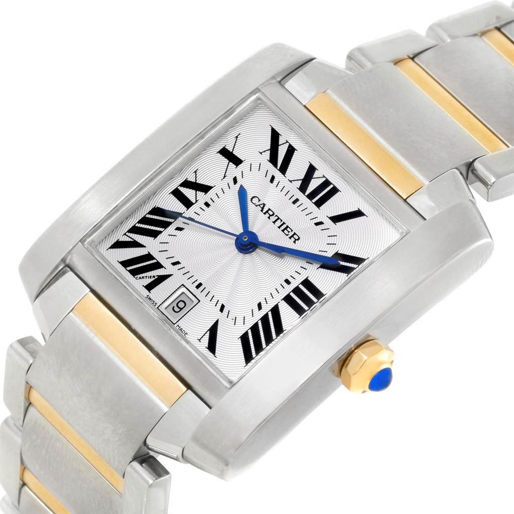 13216S Cartier Tank Francaise Large Steel Yellow Gold Automatic Watch W51005Q4 SwissWatchExpo