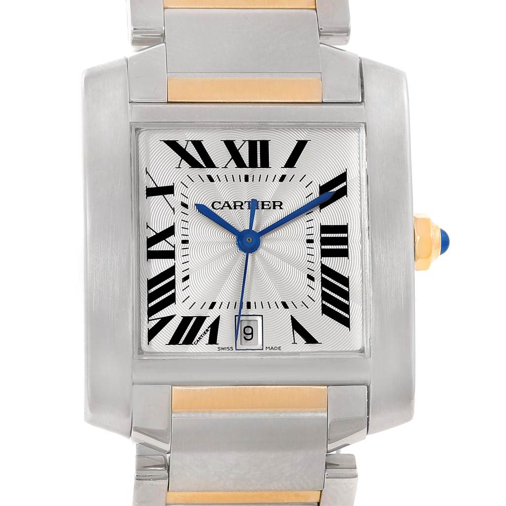 13753S Cartier Tank Francaise Large Steel Yellow Gold Unisex Watch W51005Q4 SwissWatchExpo