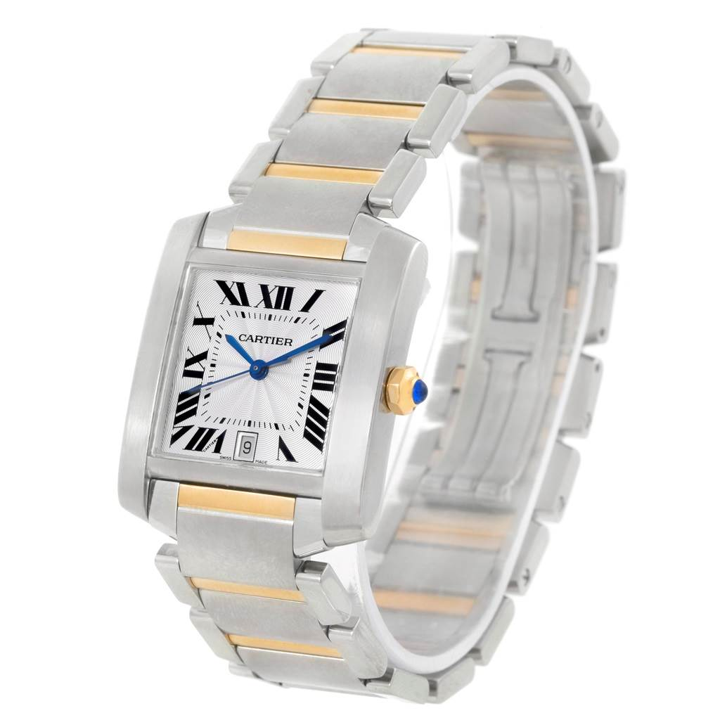 Cartier Tank Francaise Large Steel Yellow Gold Unisex Watch W51005Q4 SwissWatchExpo