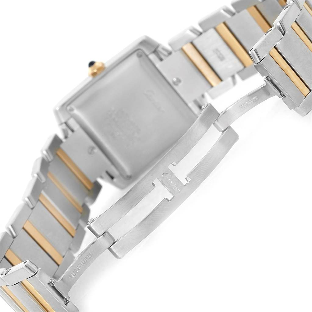 12210 Cartier Tank Francaise Large Steel Yellow Gold Unisex Watch W51005Q4 SwissWatchExpo