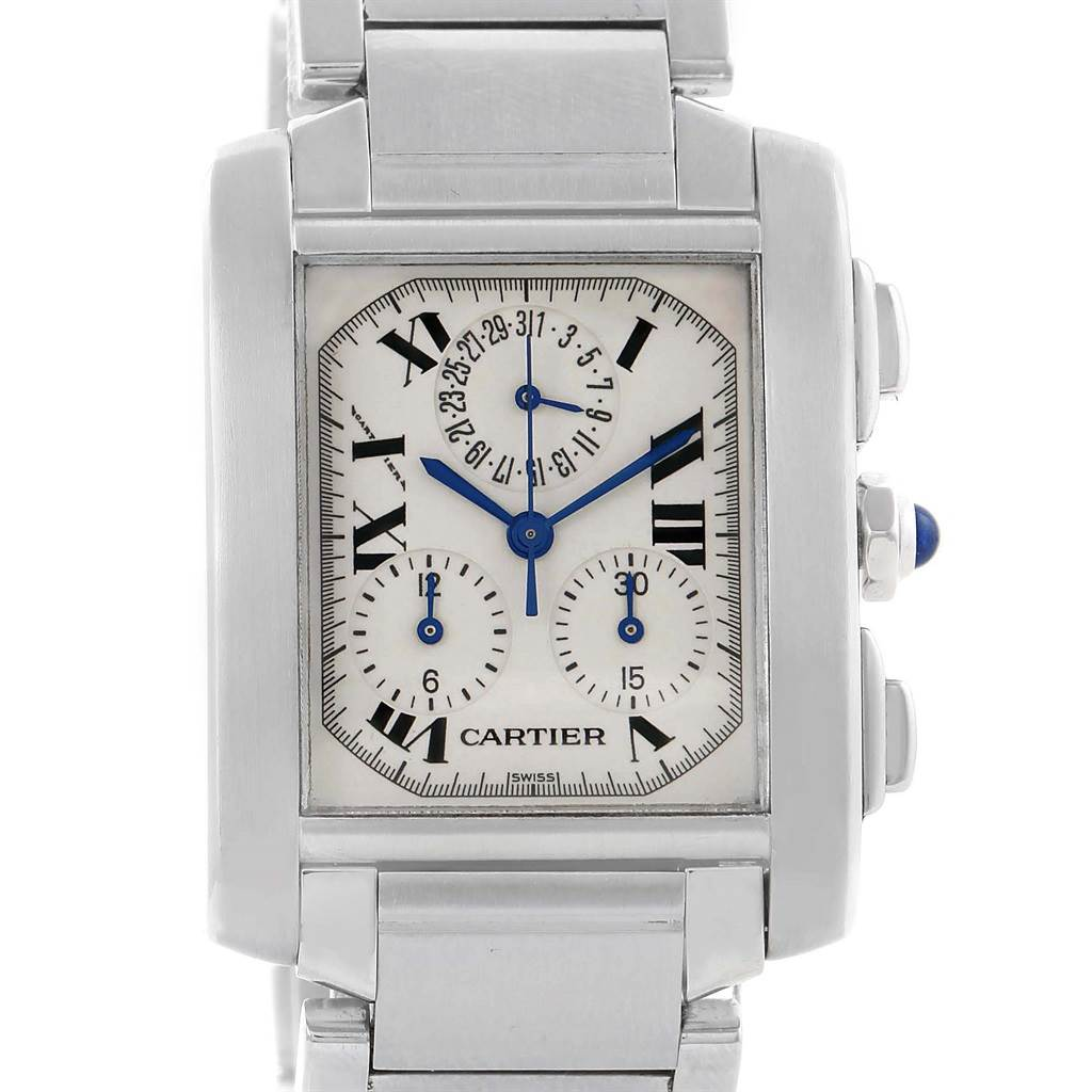 14425 Cartier Tank Francaise Stainless Steel Chronoflex Watch W51001Q3 SwissWatchExpo