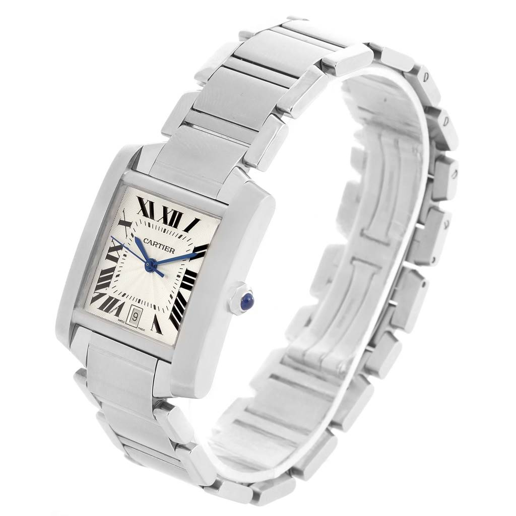 8717 Cartier Tank Francaise Silver Guilloche Steel Unisex Watch W51002Q3 SwissWatchExpo