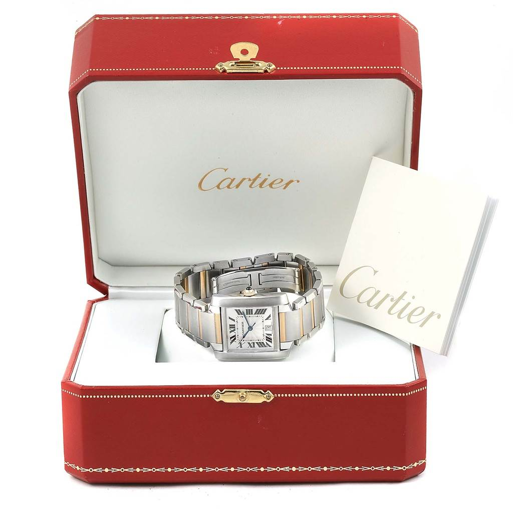 15673 Cartier Tank Francaise Large Steel Yellow Gold Unisex Watch W51005Q4 SwissWatchExpo