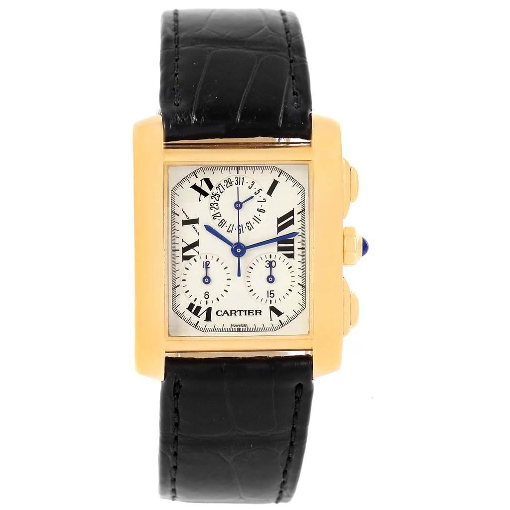 c186a565376e ... 11917 Cartier Tank Francaise Chronoflex 18K Yellow Gold Watch W5000556  SwissWatchExpo ...