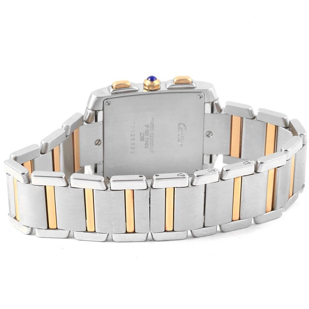 Cartier Tank Francaise Steel 18K Yellow Gold Chronograph Watch W51004Q4 SwissWatchExpo