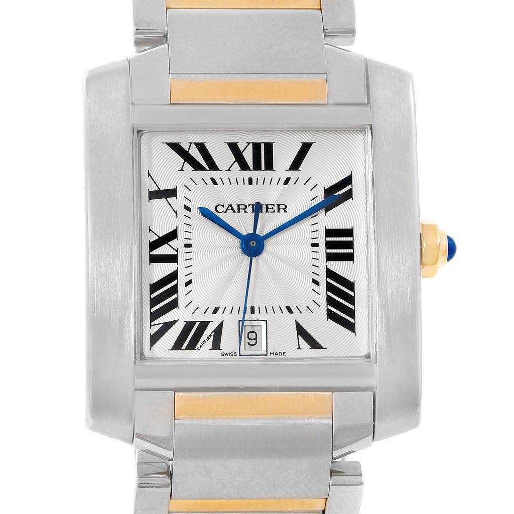 17763 Cartier Tank Francaise Steel Yellow Gold Silver Dial Mens Watch W51005Q4 SwissWatchExpo