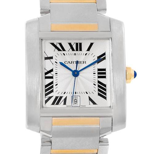 Photo of Cartier Tank Francaise Steel Yellow Gold Silver Dial Mens Watch W51005Q4