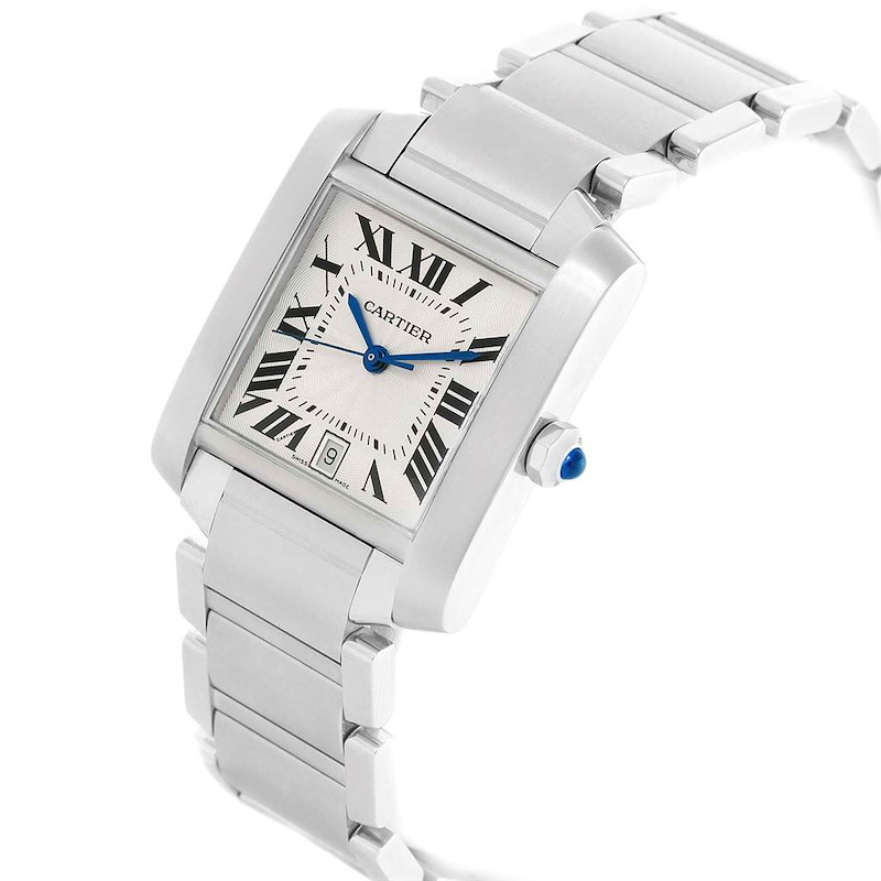 Cartier Tank Francaise Silver Roman Dial Steel Watch W51002Q3 SwissWatchExpo