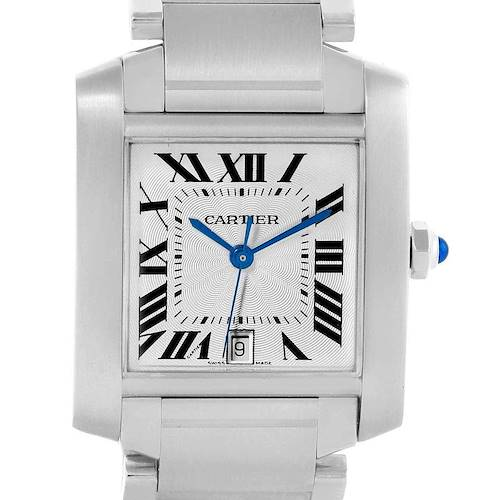 Photo of Cartier Tank Francaise Silver Roman Dial Steel Watch W51002Q3