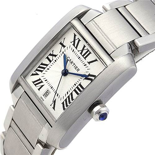 2079 Cartier Tank Francaise Large Steel Watch W51002q3 SwissWatchExpo