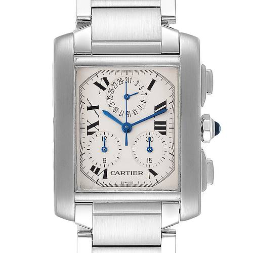 Photo of Cartier Tank Francaise Stainless Steel Chronoflex Mens Watch W51001Q3