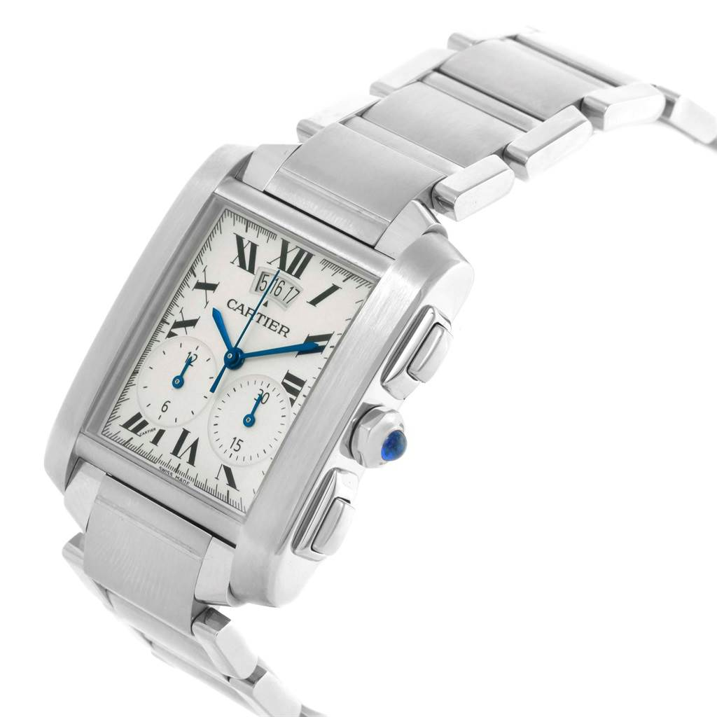 20486 Cartier Tank Francaise Chrongraph Steel Mens Watch W51024Q3 SwissWatchExpo