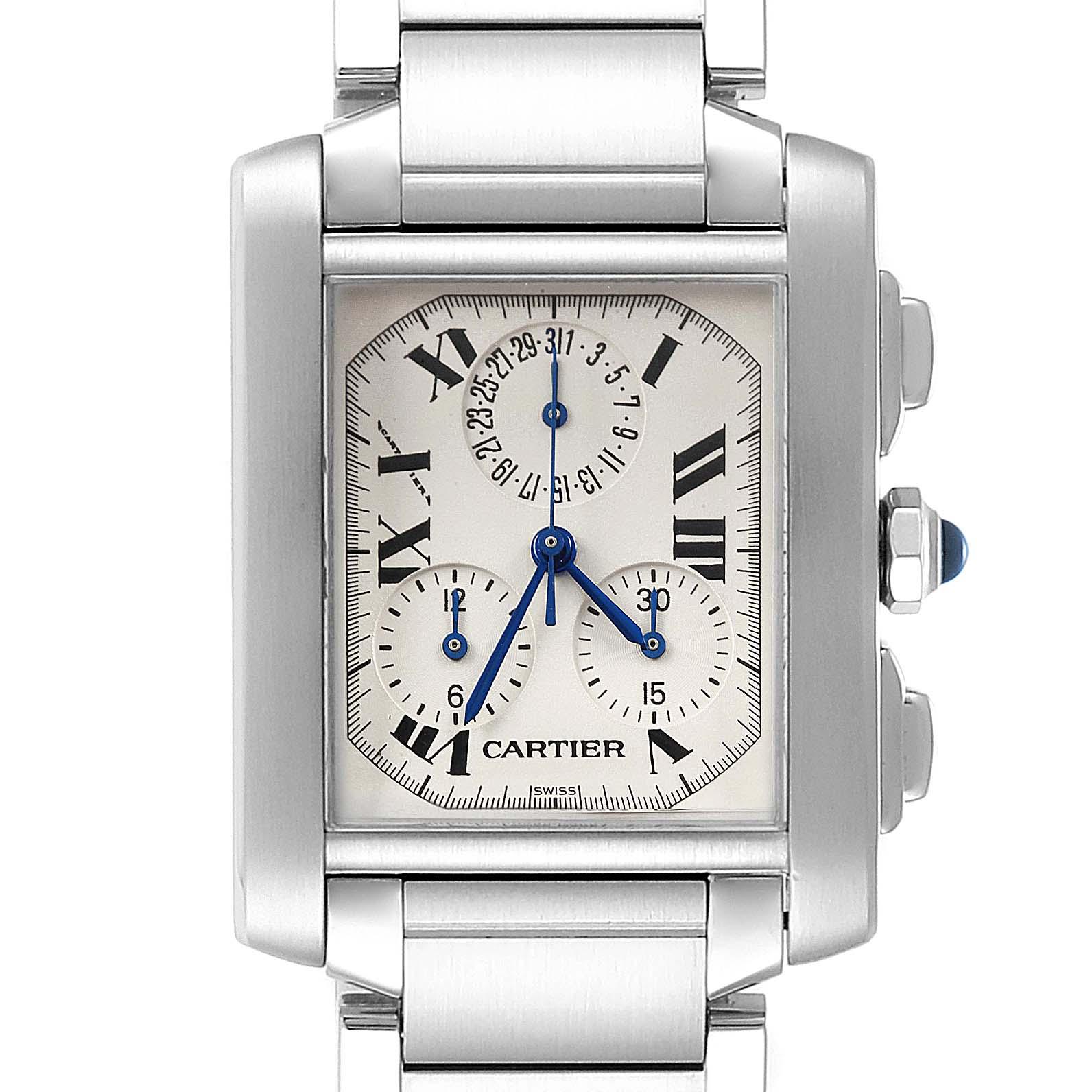 Cartier Tank Francaise Steel Chronoflex Mens Watch W51001Q3 Box