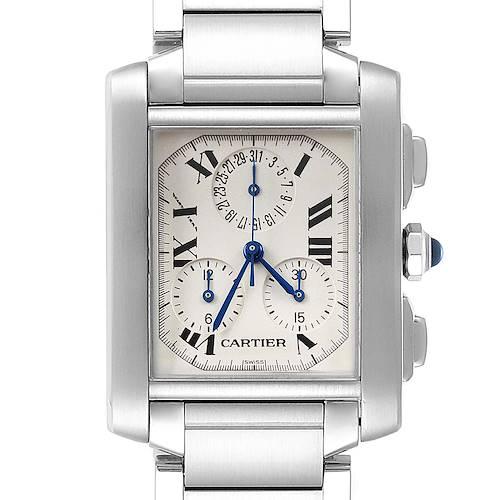 Photo of Cartier Tank Francaise Steel Chronoflex Mens Watch W51001Q3 Box