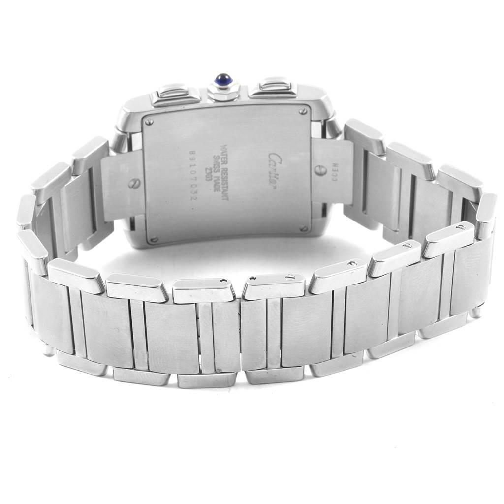 20365 Cartier Tank Francaise Steel Chronoflex Mens Watch W51001Q3 Box SwissWatchExpo