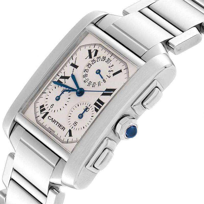 Cartier Tank Francaise Steel Chronoflex Mens Watch W51001Q3 Box SwissWatchExpo