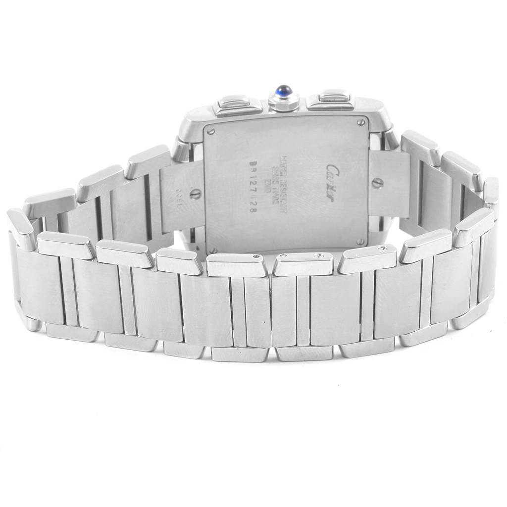 20366 Cartier Tank Francaise Chronoflex Stainless Steel Watch W51001Q3 Box SwissWatchExpo