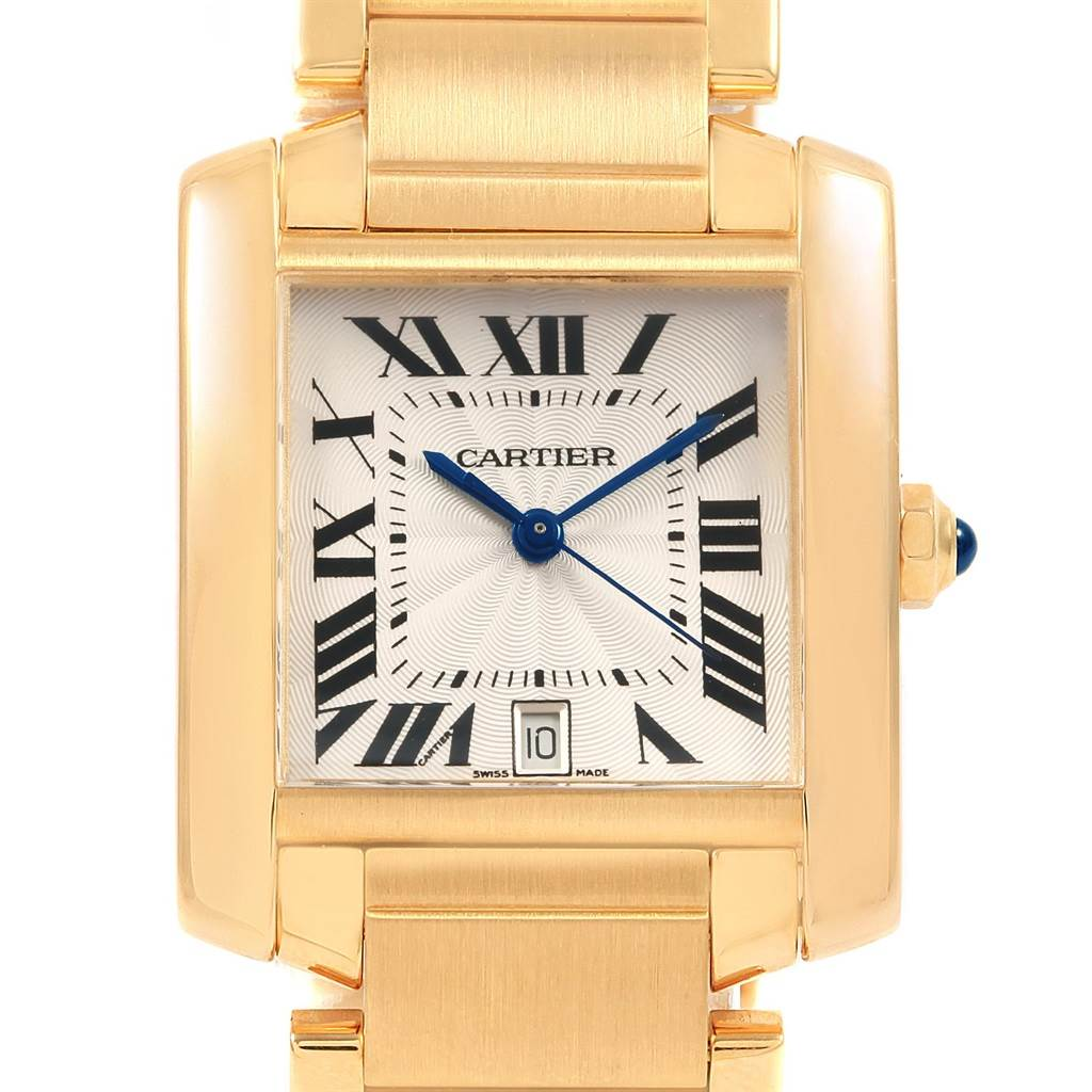 20995 Cartier Tank Francaise Large 18K Yellow Gold Automatic Watch W50001R2 SwissWatchExpo