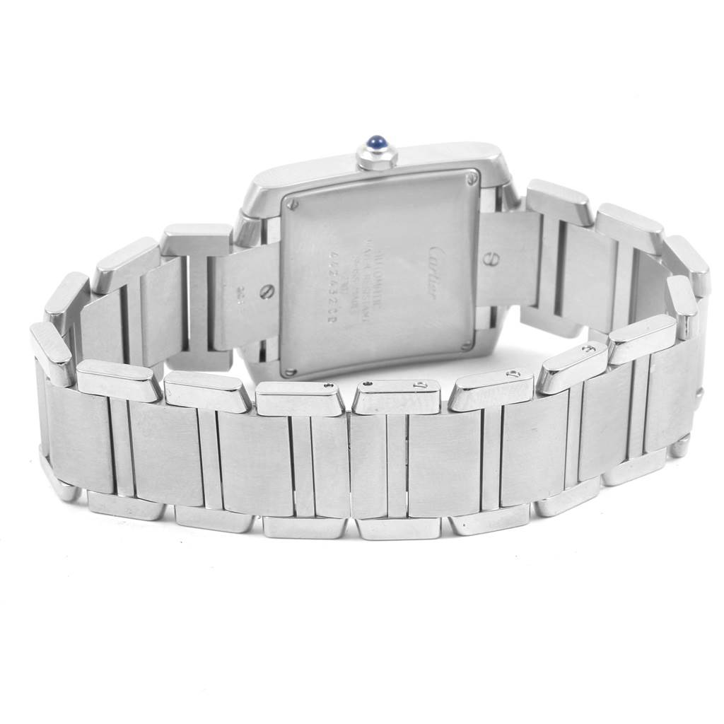 17883 Cartier Tank Francaise Blue Hands Automatic Mens Watch W51002Q3 SwissWatchExpo