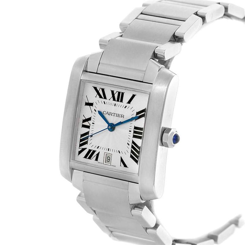 Cartier Tank Francaise Blue Hands Automatic Mens Watch W51002Q3 SwissWatchExpo