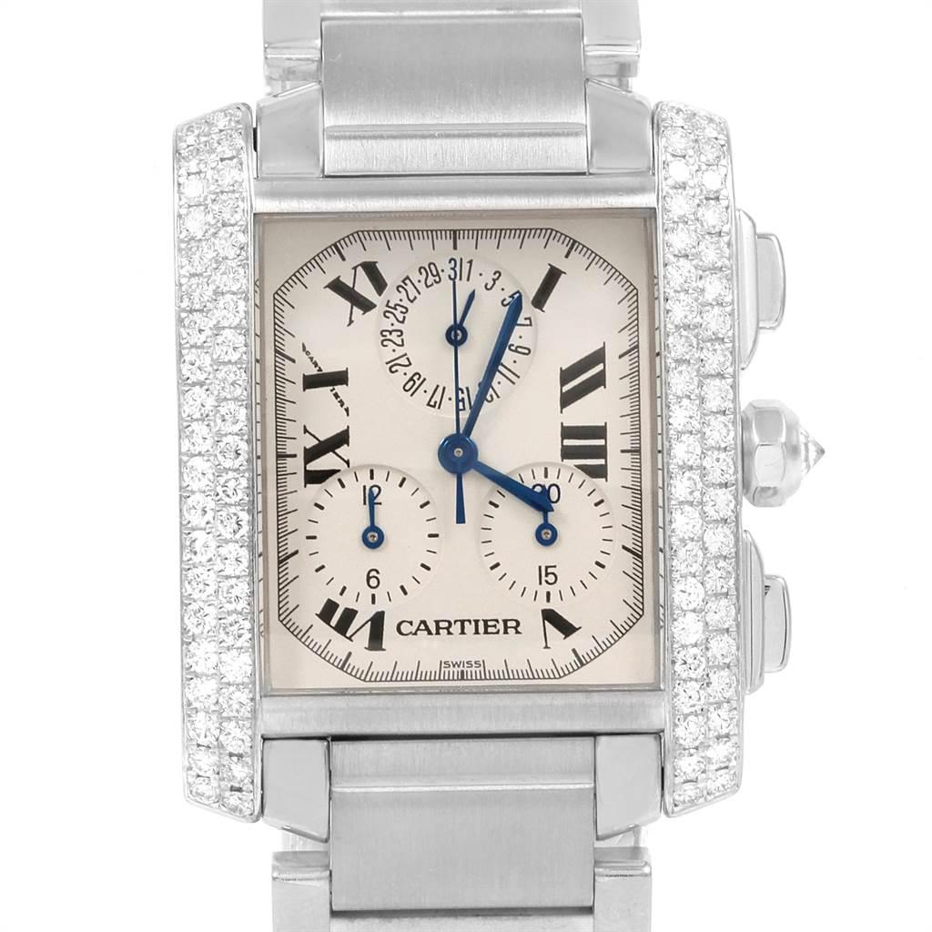 21336 Cartier Tank Francaise Chrongraph White Gold Diamond Mens Watch 2367 SwissWatchExpo