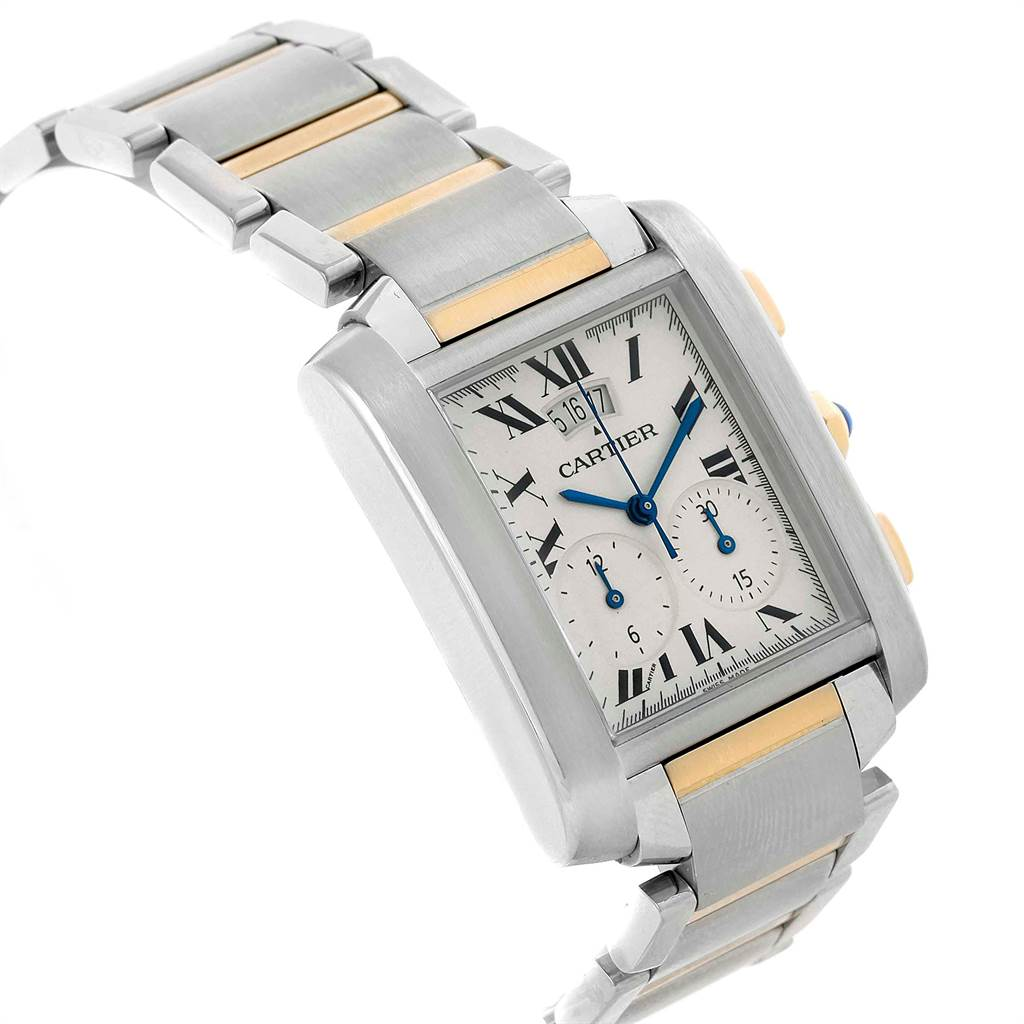 21461 Cartier Tank Francaise Steel 18K Yellow Gold Chrongraph Watch W51004Q4 SwissWatchExpo