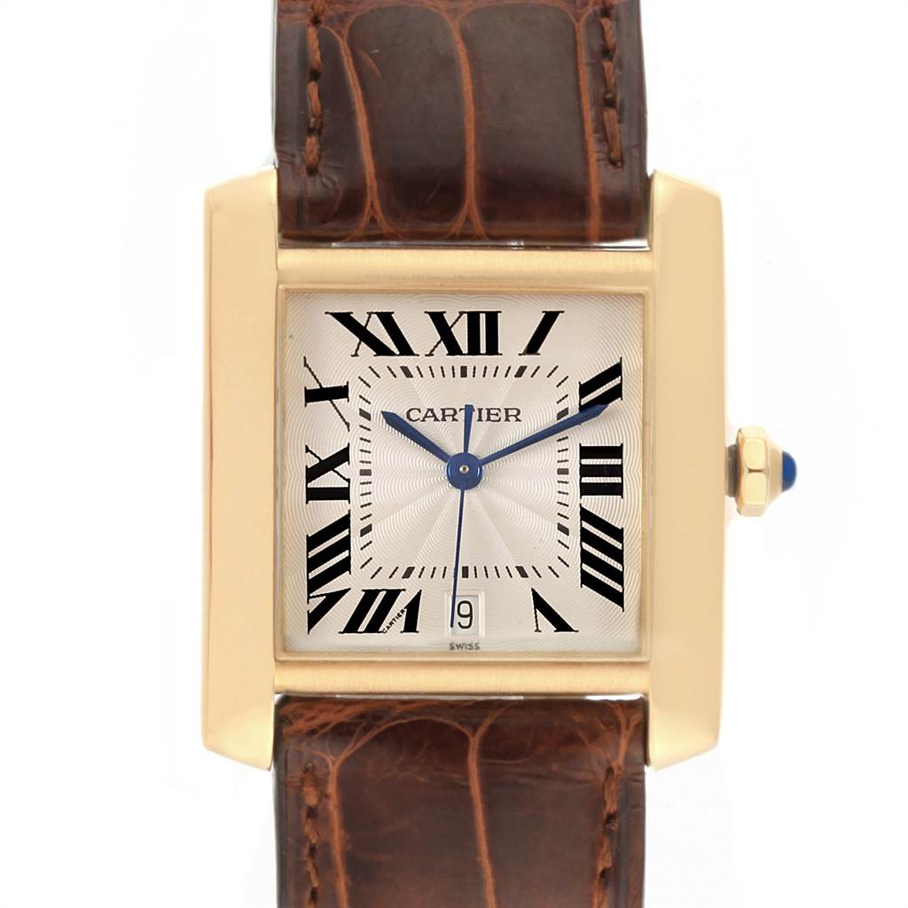 21974 Cartier Tank Francaise Large Yellow Gold Automatic Mens Watch W5000156 SwissWatchExpo