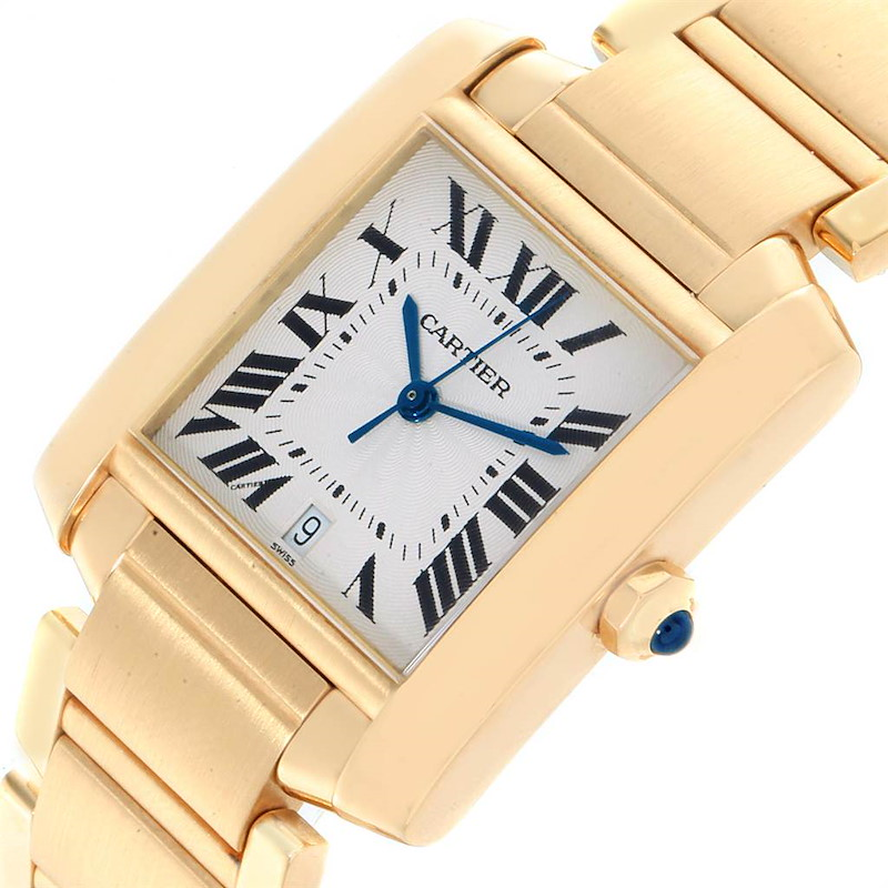 Cartier Tank Francaise Large Yellow Gold Automatic Mens Watch W50001R2 SwissWatchExpo