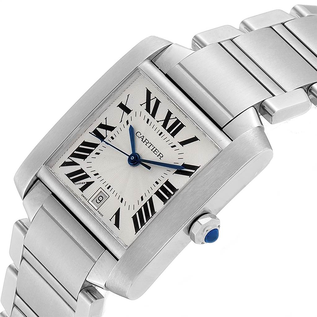Cartier Tank Francaise Blue Hands Automatic Mens Watch W51002Q3 SwissWatchExpo