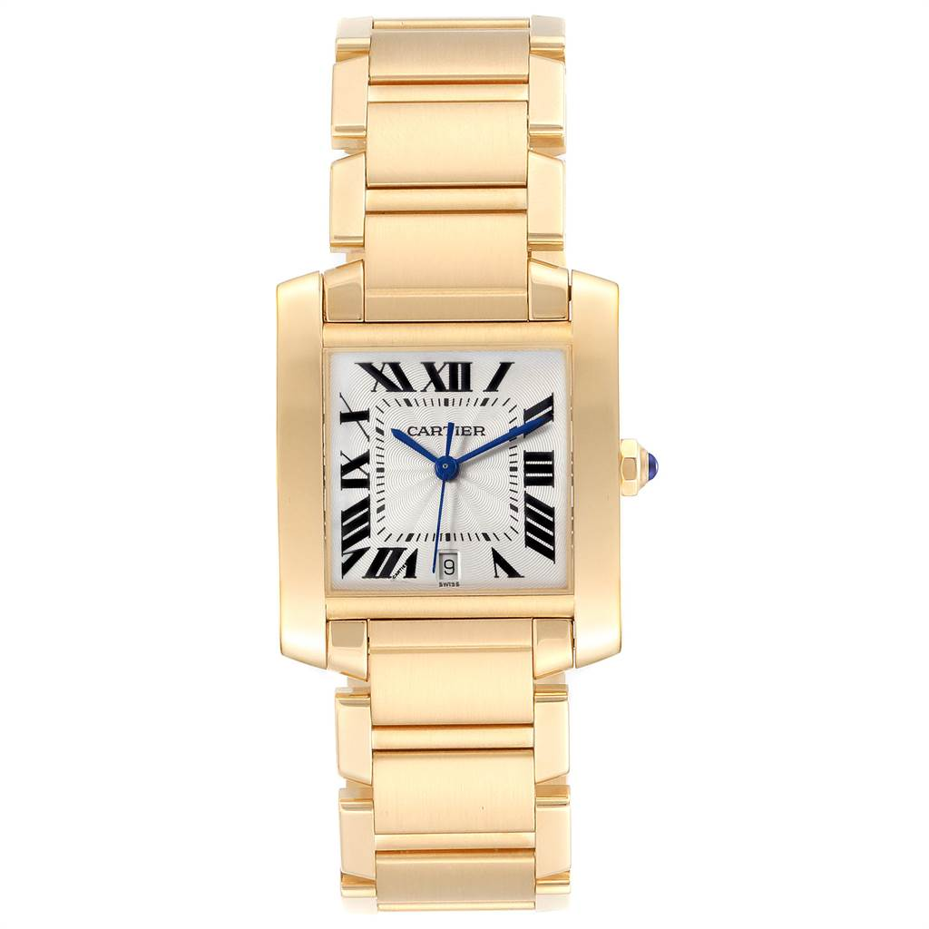 23765 Cartier Tank Francaise Large Yellow Gold Unisex Watch W50001R2 Box Papers SwissWatchExpo