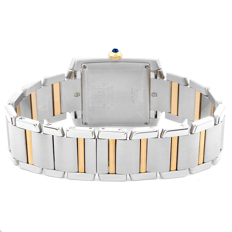 Cartier Tank Francaise Steel Yellow Gold Silver Dial Mens Watch W51005Q4 SwissWatchExpo