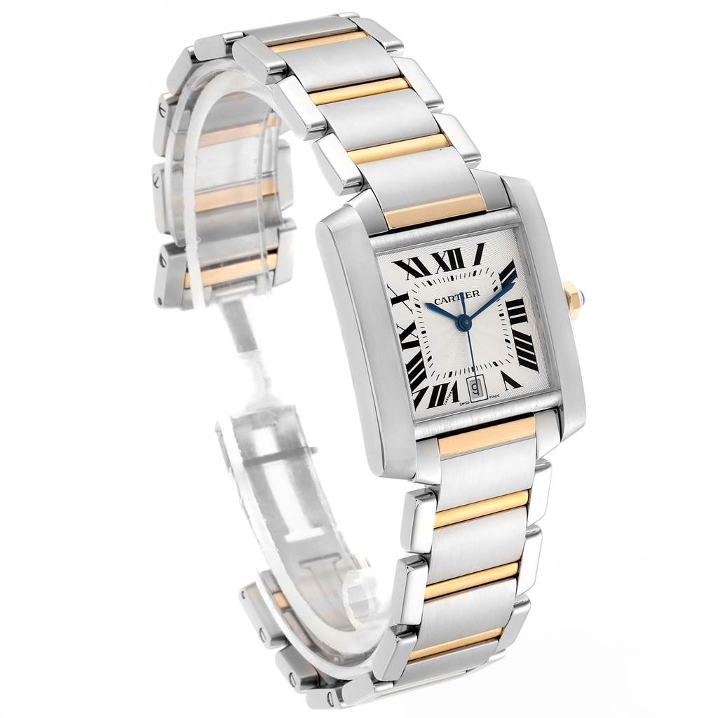 23900 Cartier Tank Francaise Steel Yellow Gold Silver Dial Mens Watch W51005Q4 SwissWatchExpo