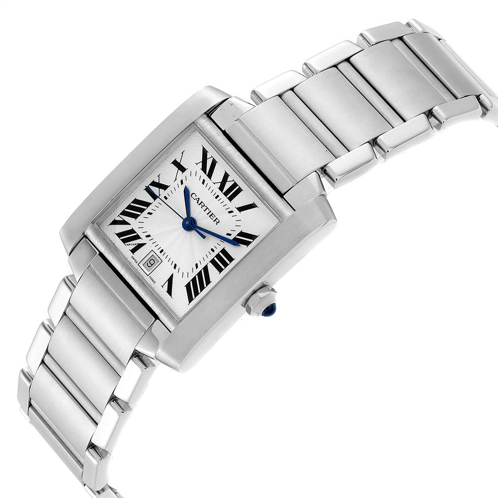 23968 Cartier Tank Francaise Large Steel Automatic Mens Watch W51002Q3 SwissWatchExpo