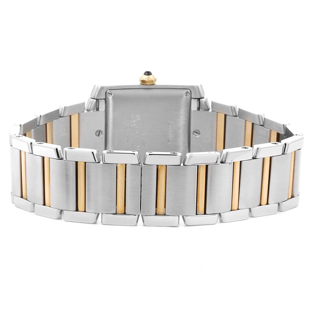 Cartier Tank Francaise Steel Yellow Gold Blue Hands Mens Watch W51005Q4 SwissWatchExpo