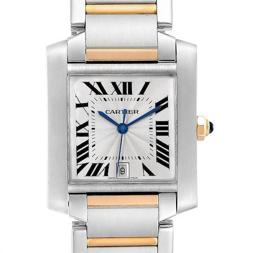 Photo of Cartier Tank Francaise Steel Yellow Gold Blue Hands Mens Watch W51005Q4