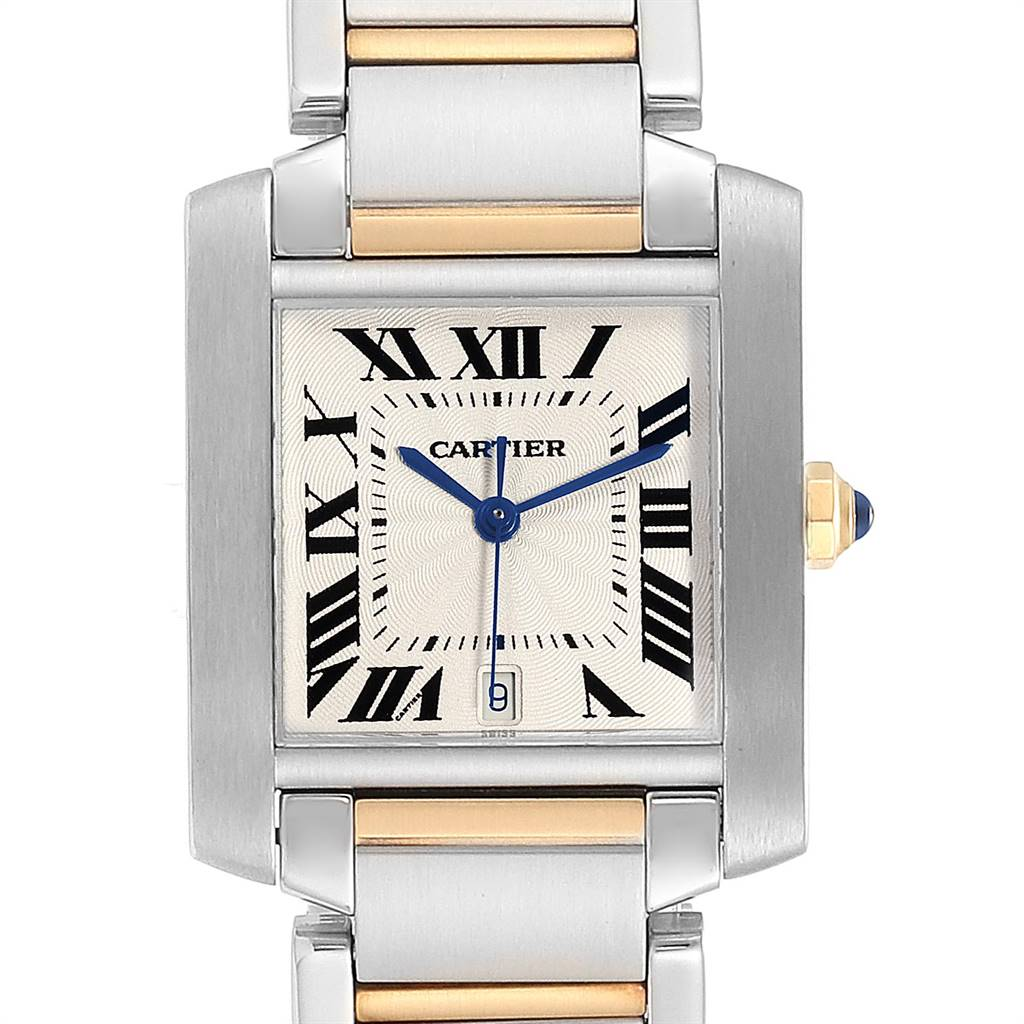 Cartier Tank Francaise Large Steel Yellow Gold Mens Watch W51005Q4 SwissWatchExpo