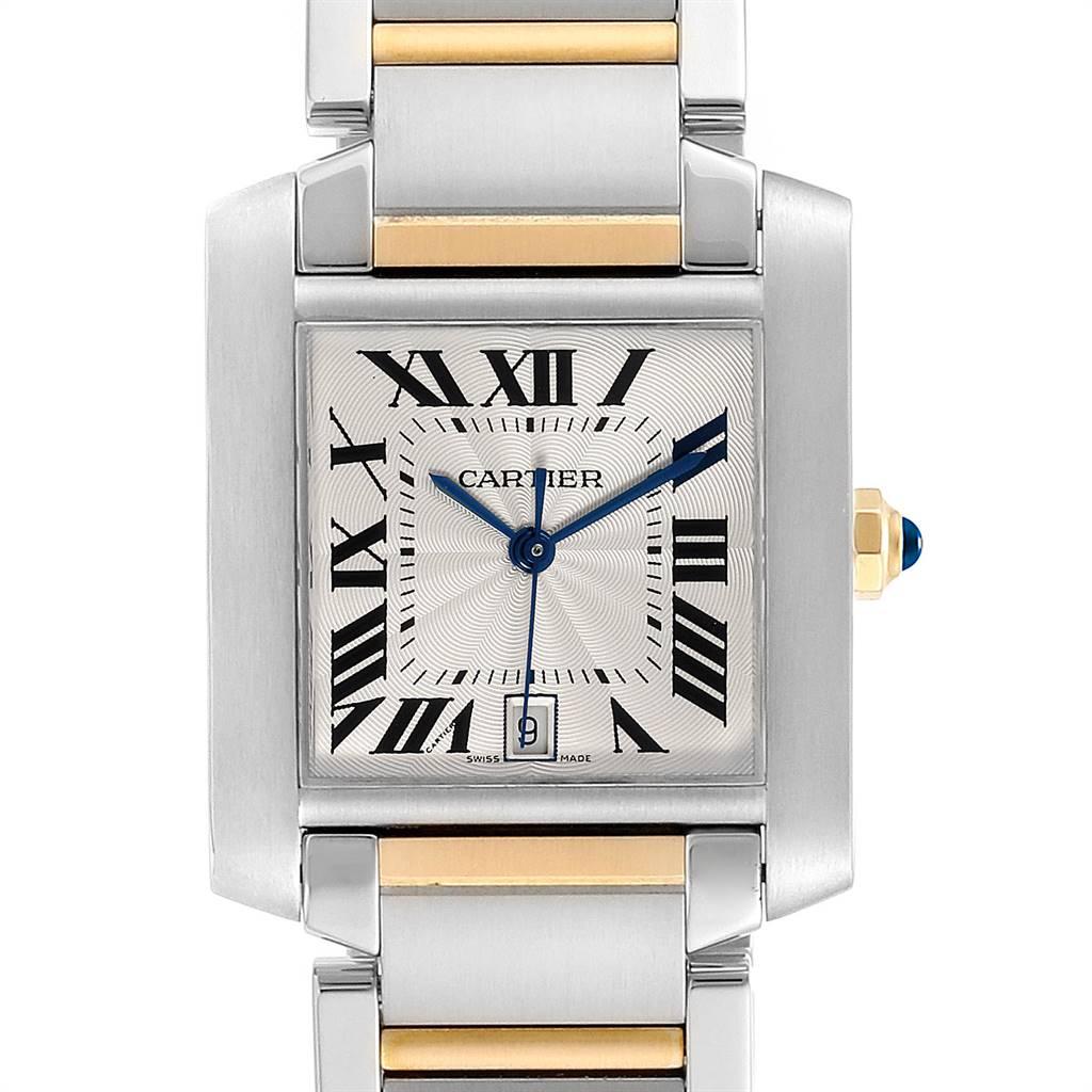 23899 Cartier Tank Francaise Steel 18K Yellow Gold Mens Watch W51005Q4 SwissWatchExpo