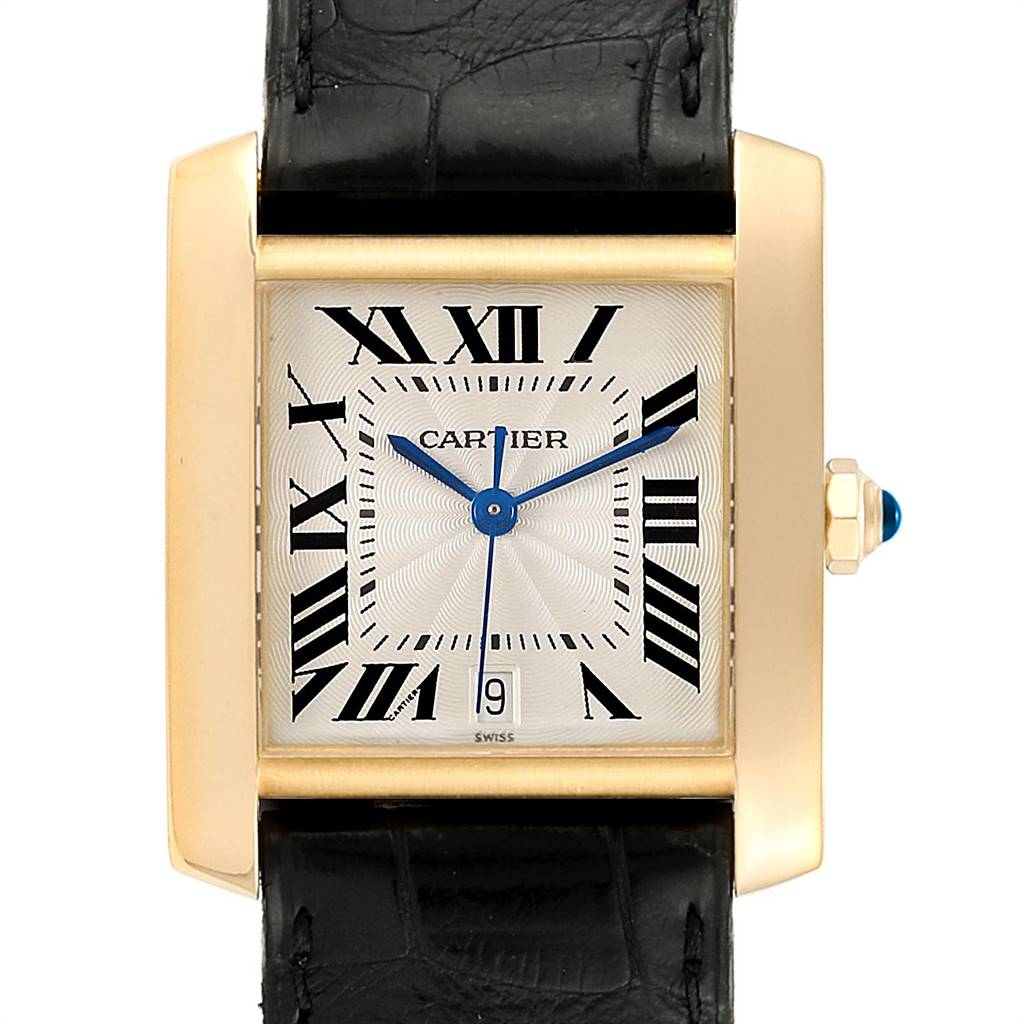 23938 Cartier Tank Francaise Large Yellow Gold Automatic Mens Watch W5000156 SwissWatchExpo