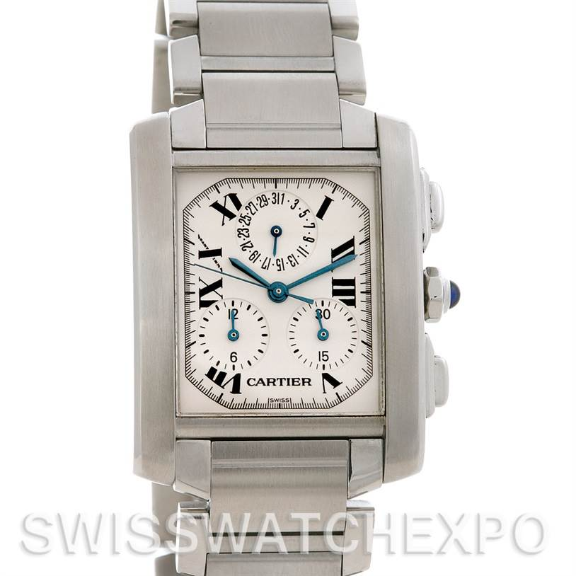2585 Cartier  Tank Francaise Steel Chronograph Watch W51001Q3 SwissWatchExpo