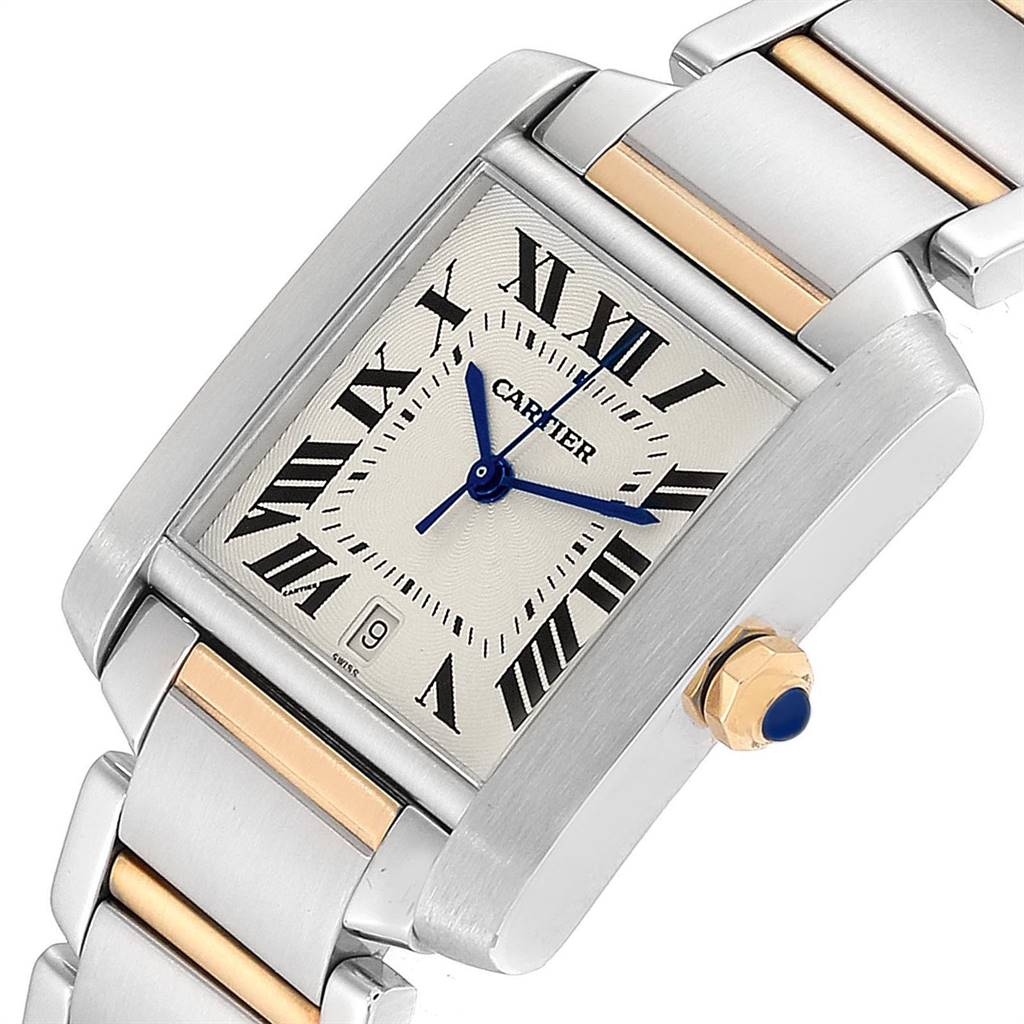 23879 Cartier Tank Francaise Steel Yellow Gold Mens Watch W51005Q4 Box SwissWatchExpo