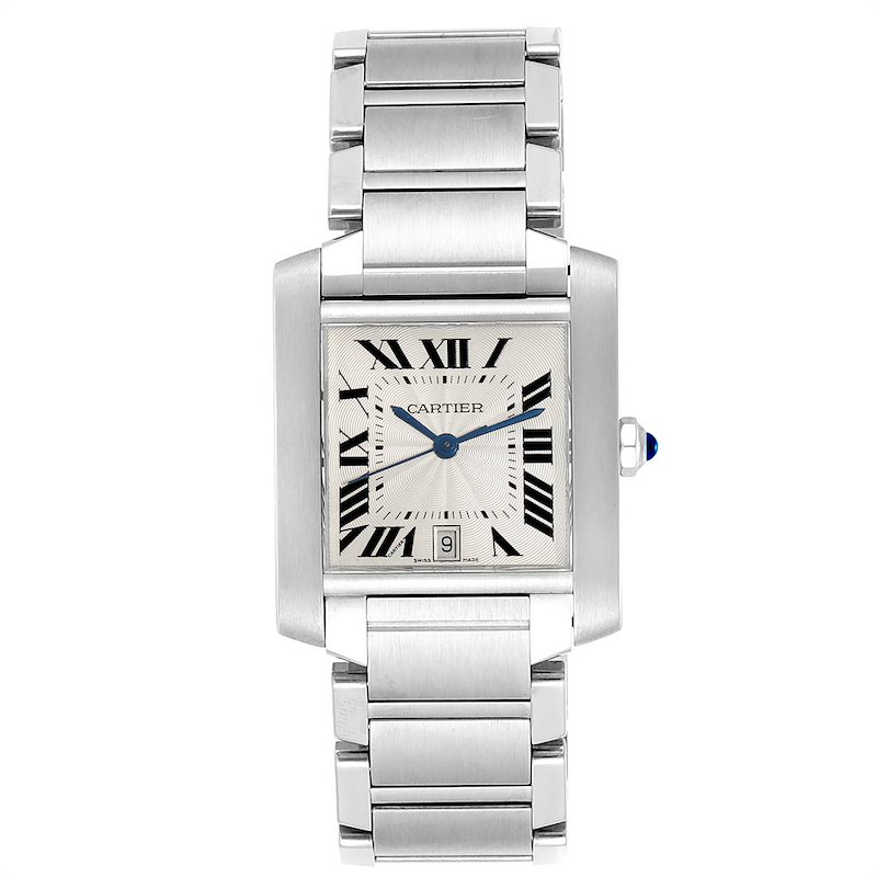 Cartier Tank Francaise Large Steel Automatic Mens Watch W51002Q3 SwissWatchExpo