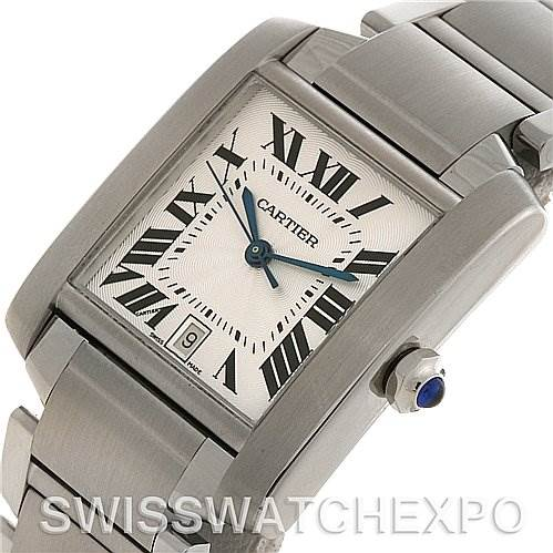 2655 Cartier Tank Francaise Large SS Automatic Watch W51002Q3  SwissWatchExpo