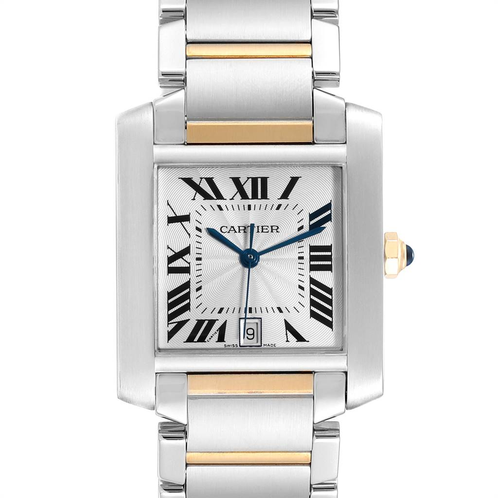 Cartier Tank Francaise Steel Yellow Gold Automatic Mens Watch W51005Q4 SwissWatchExpo